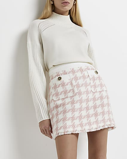 Petite pink dogtooth boucle mini skirt