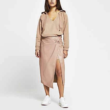 Petite Pink Faux Leather Wrap Midi Skirt
