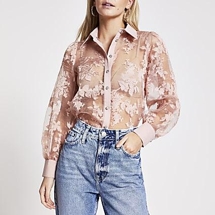 Petite pink floral organza sheer shirt