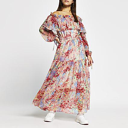 Petite pink floral print maxi dress