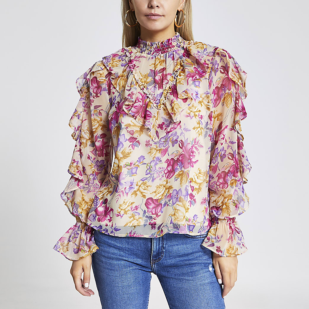 Petite pink floral ruffle long sleeve blouse