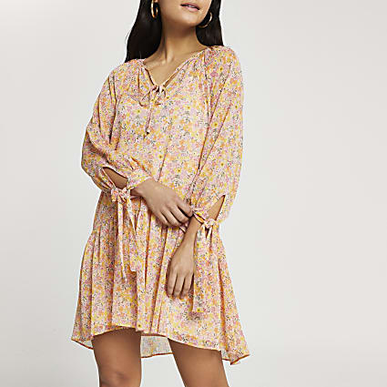 Petite pink floral tie neck smock dress
