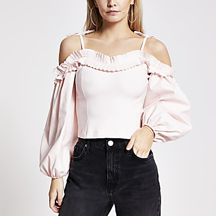 Petite pink frill bardot long sleeve top