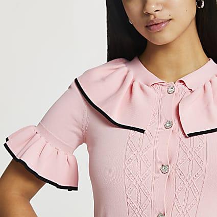 Petite Pink frill collar cardigan