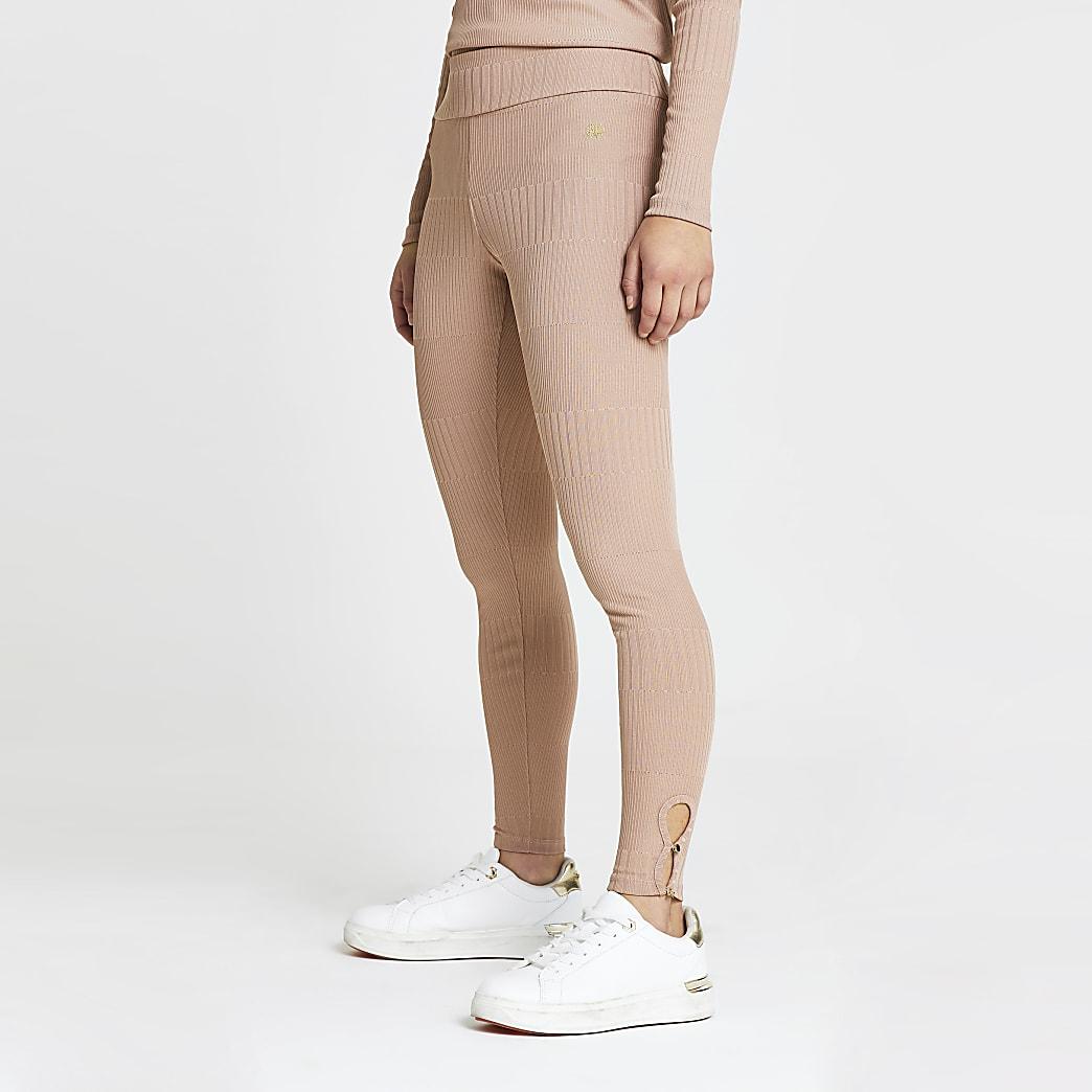 Petite pink keyhole detail leggings