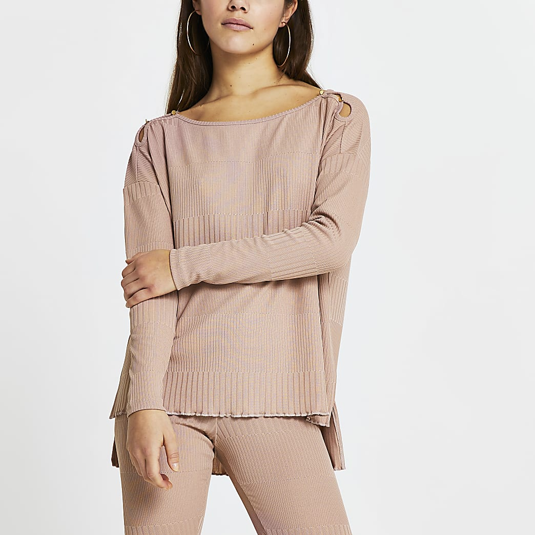 Petite pink keyhole detail long sleeve top