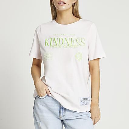 Petite pink Kindness t-shirt