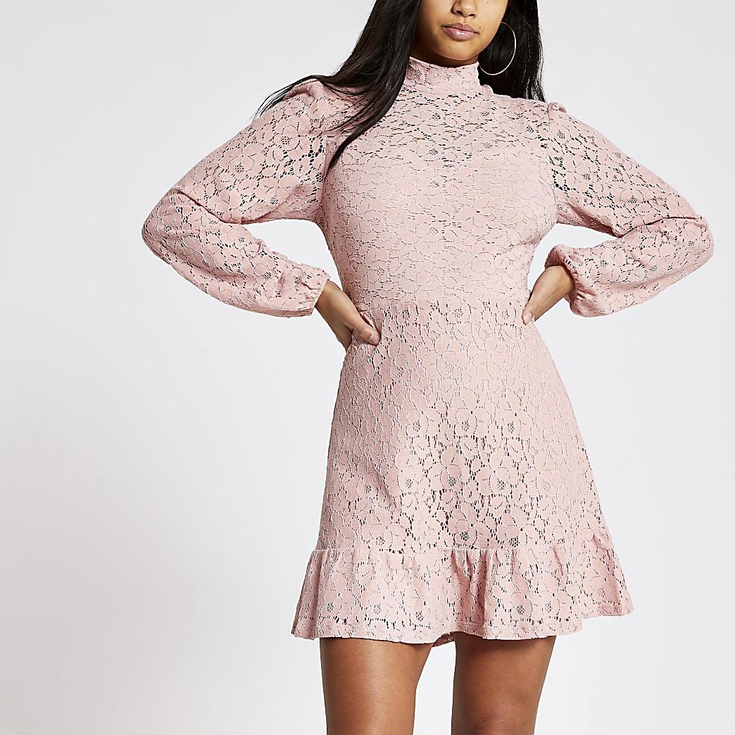 Petite pink lace high neck ruffle mini dress