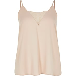 Petite pink lace V neck cami top