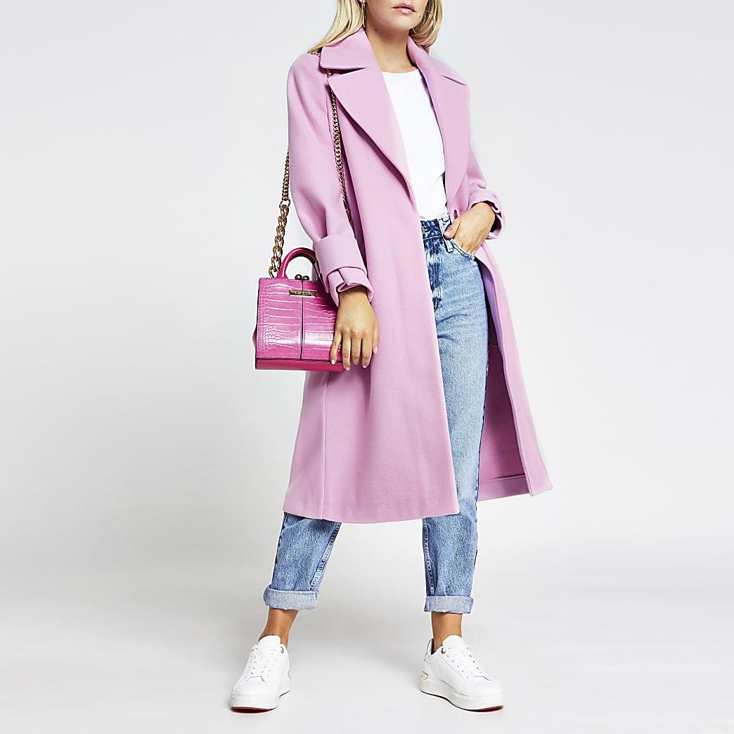 Petite pink long line cuff detail coat