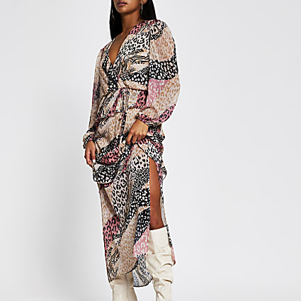 Petite pink long sleeve floral maxi day dress