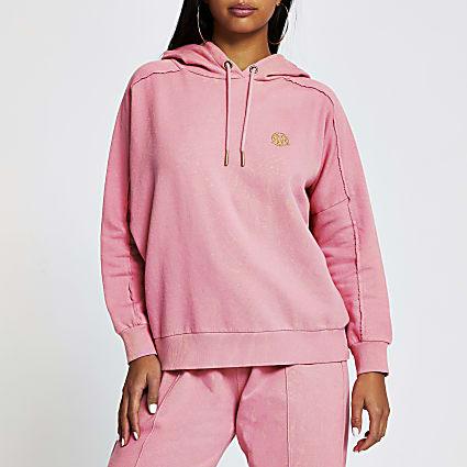 Petite pink long sleeve seam detail hoodie
