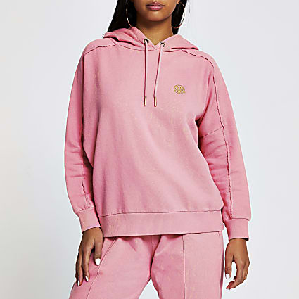 Petite pink long sleeve seam detail hoody