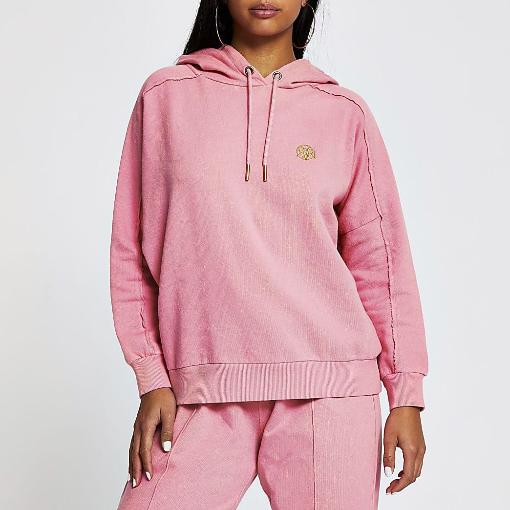 Petite pink long sleeve seam detail hoody