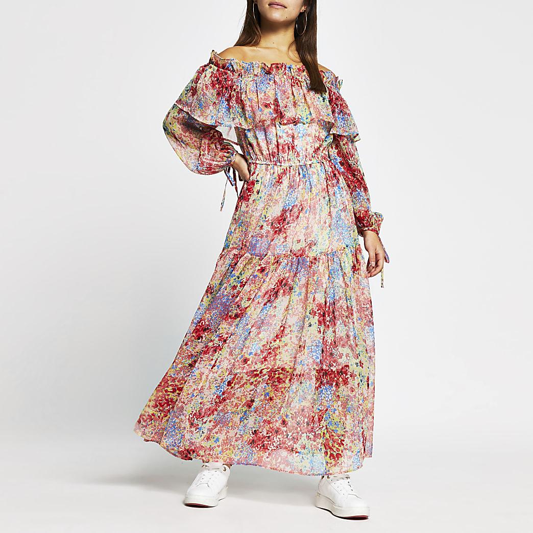 Petite pink long sleeve waisted maxi dress