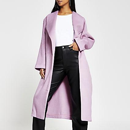 Petite pink longline coat