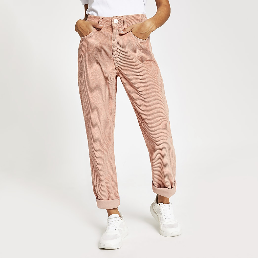 Petite pink Mom cord denim jeans