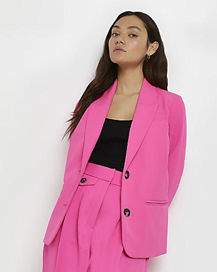 Petite pink oversized blazer