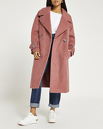 Petite pink oversized double breasted coat