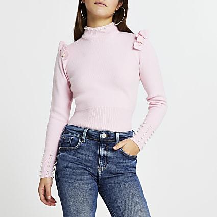 Petite pink pearl trim jumper