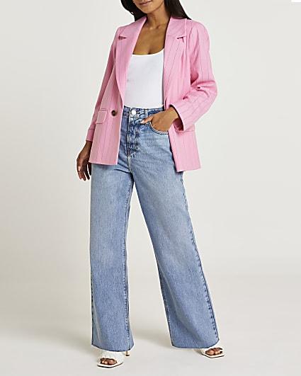 Petite pink pinstripe blazer