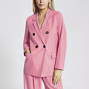 Petite – Zweireihiger Blazer in Pink mit Nadelstreifen