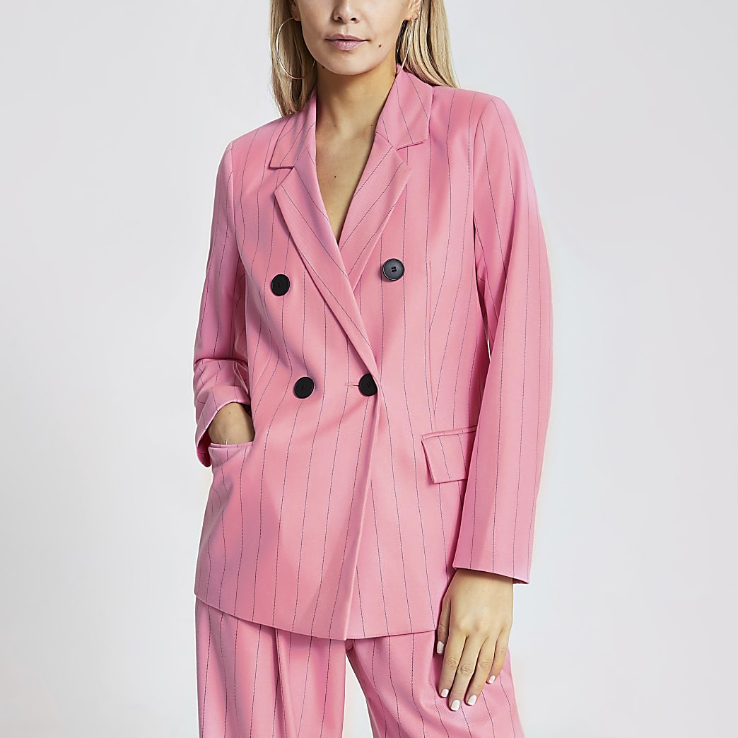 Petite pink pinstripe double breasted blazer