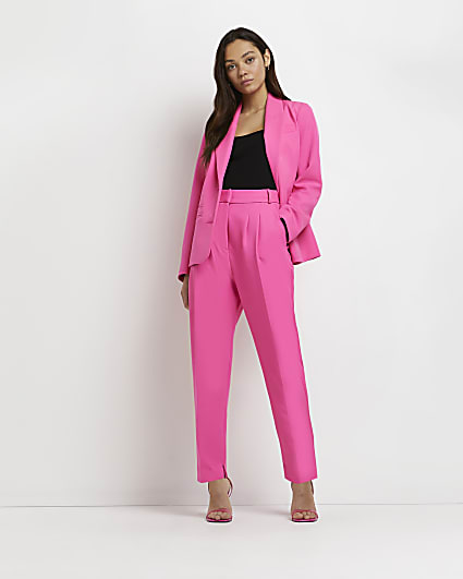 Petite pink pleated tapered trousers