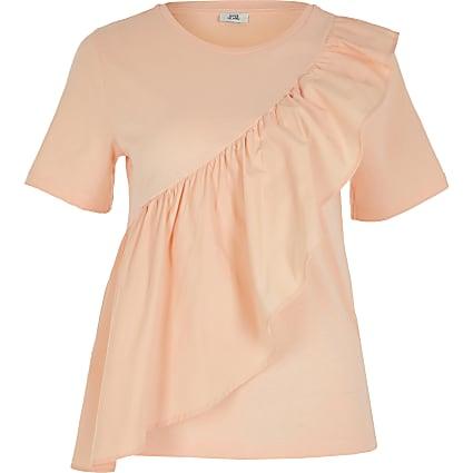 Petite pink poplin frill front t-shirt