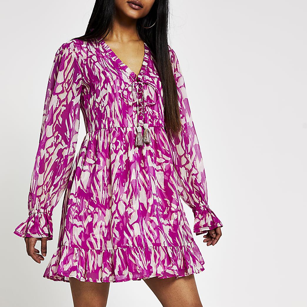 Petite pink printed mini smock dress