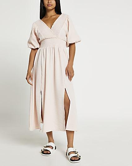 Petite pink puff sleeve maxi dress