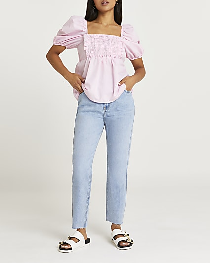 Petite pink puff sleeve shirred top