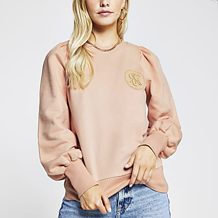 Petite pink RI puff sleeve sweatshirt