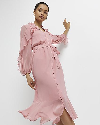 Petite pink ruffled midi dress