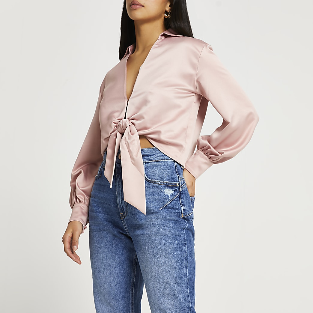 Petite pink satin long sleeve tie front shirt