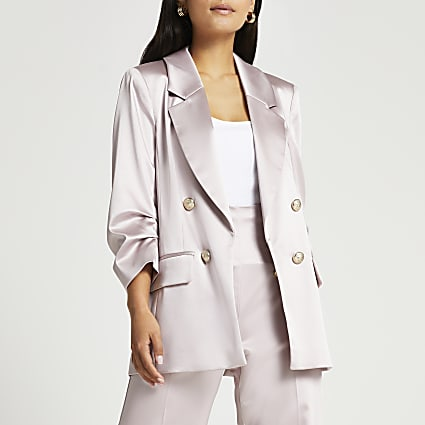 Petite pink satin ruched sleeve blazer