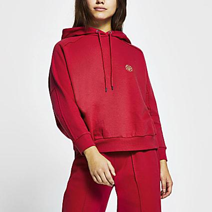 Petite pink seam detail hoodie