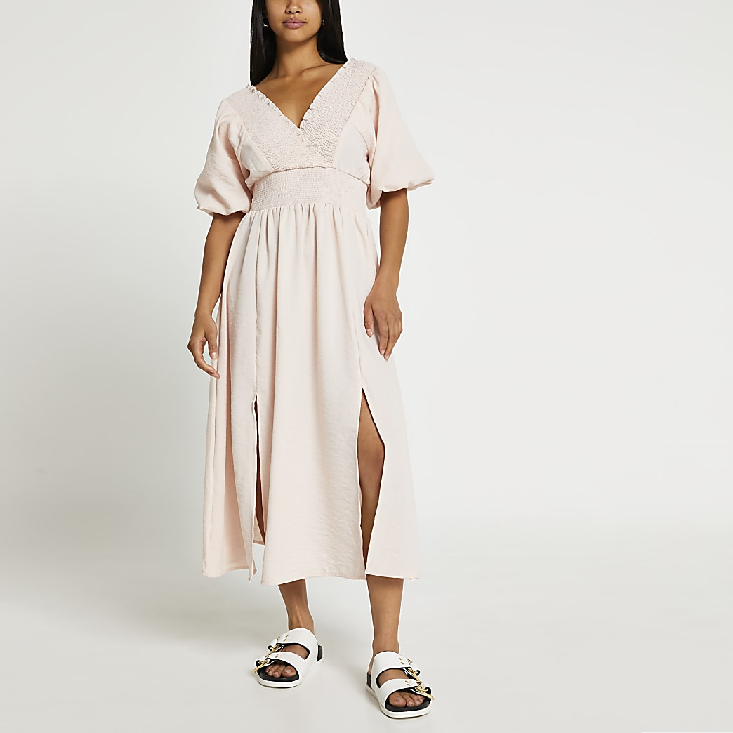 Petite pink short sleeve maxi dress