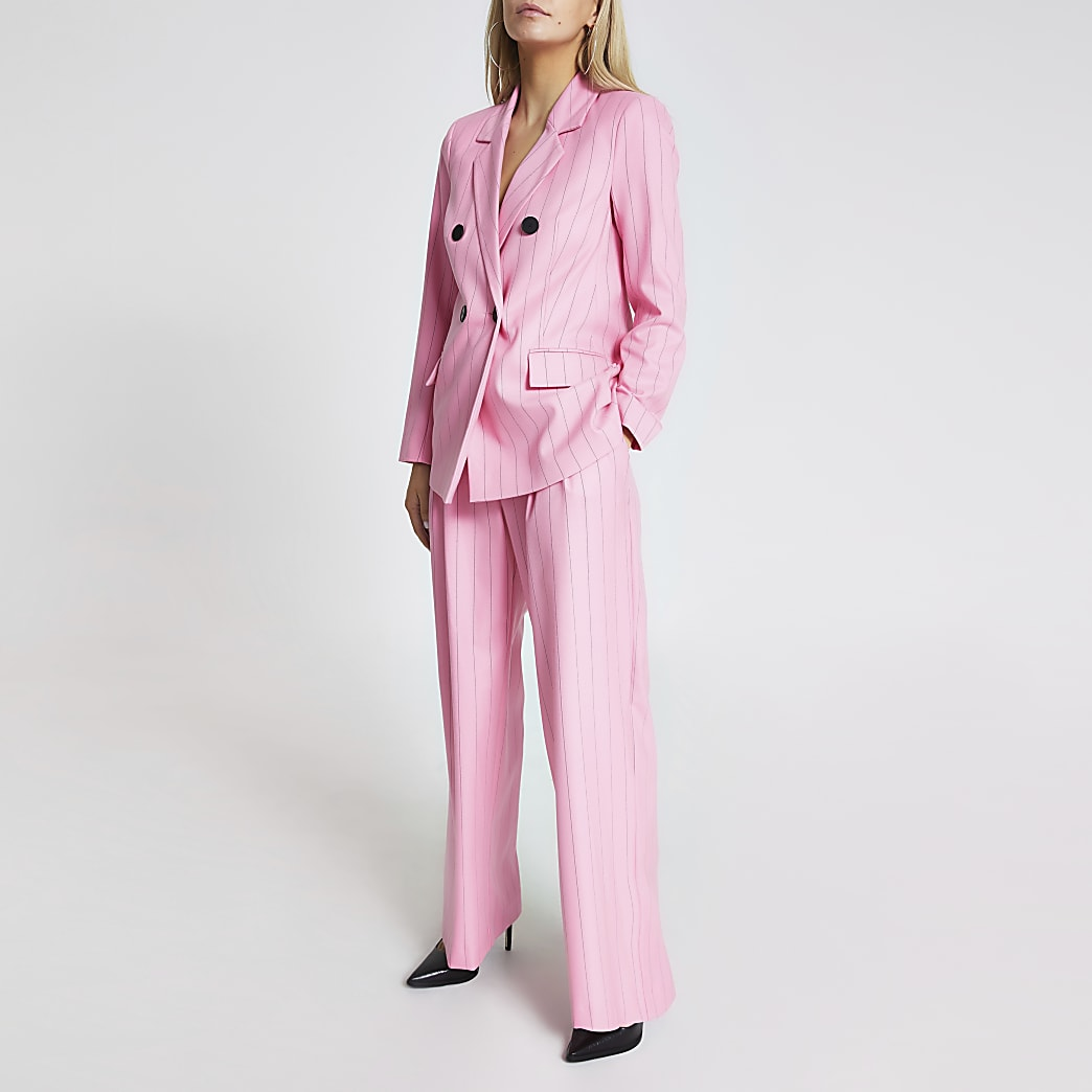 Petite pink stripe belted wide leg trousers