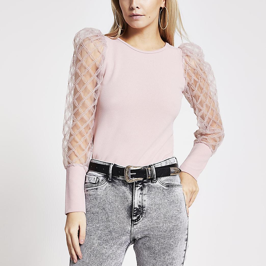 Petite–Top rose à manches longues en tulle texturée