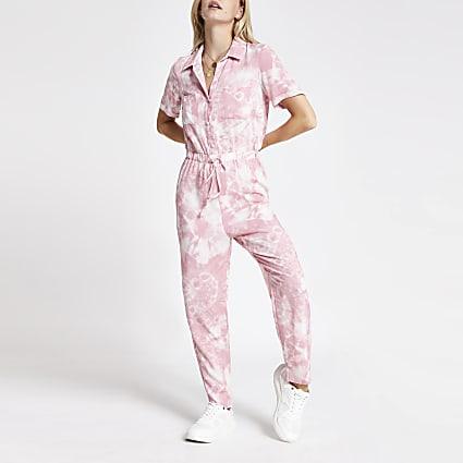 Petite pink tie dye boiler jumpsuit