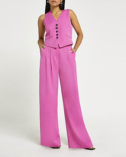 Petite pink wide leg trousers