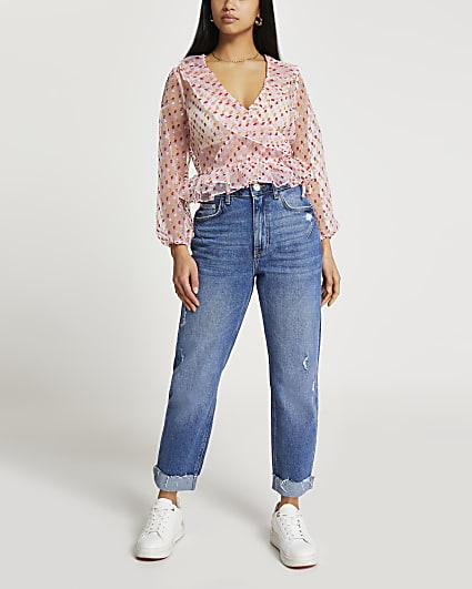 Petite Pink wrap peplum blouse top
