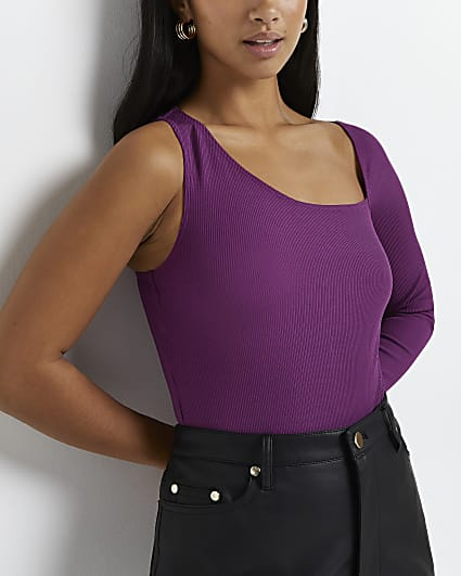 Petite purple asymmetric bodysuit