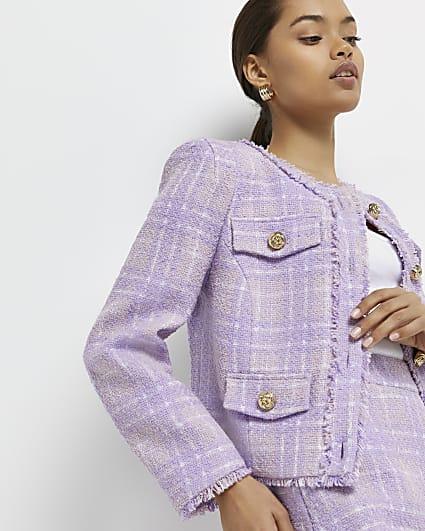 Petite purple check boucle jacket