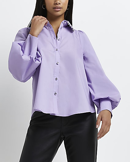 Petite purple diamante trim collar shirt