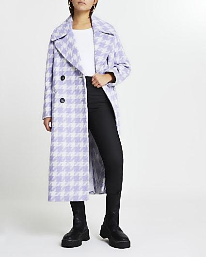 Petite purple dogtooth oversized coat