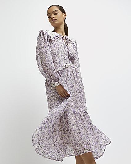 Petite purple floral oversized collar dress