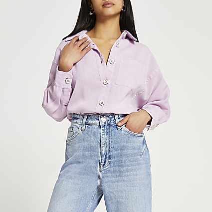 Petite purple oversized long sleeve shirt