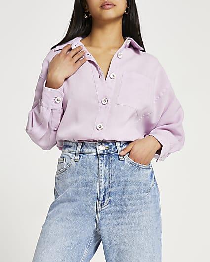 Petite purple oversized long sleeve shirt